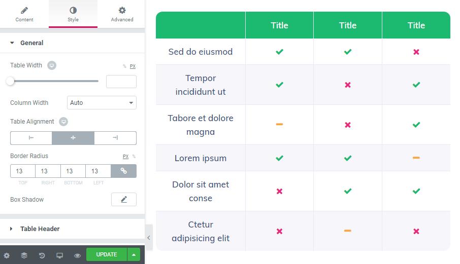 Style settings in Table widget