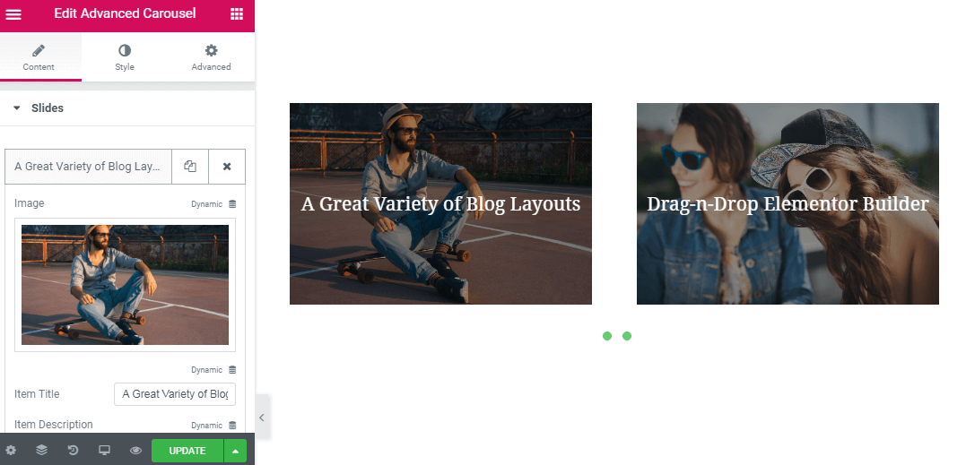 How to create a carousel using Advanced Carousel JetElements widget