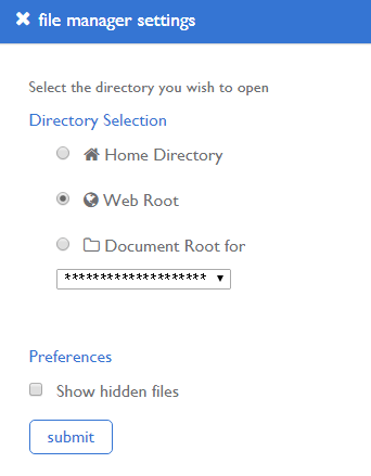 select the Web Root directory