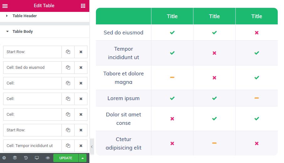 Table body settings in Table widget