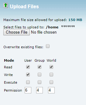 Upload file section