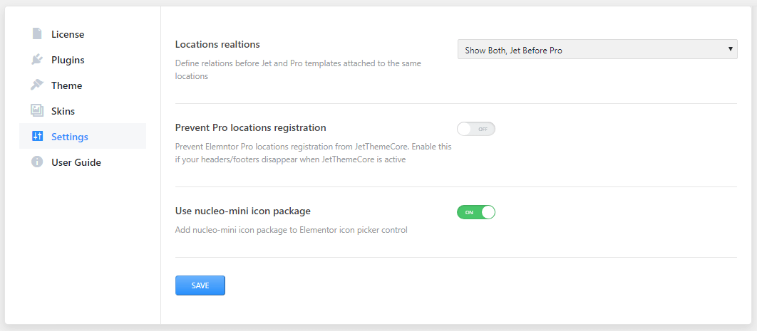 Settings block in Crocoblock Dashboard