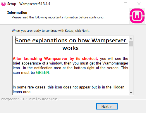 WampServer setup window
