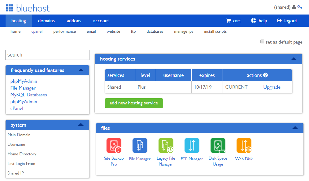 Bluehost cpanel page