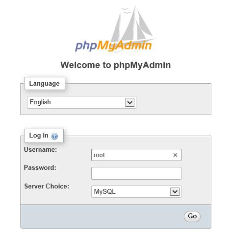phpMyAdmin window