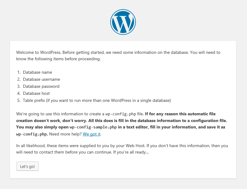 Welcome to WordPress screen