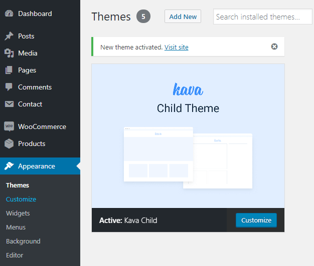 kava child theme customizer