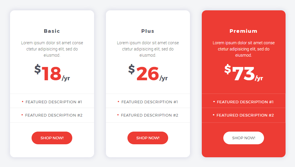 Add informative pricing tables to your website | Crocoblock