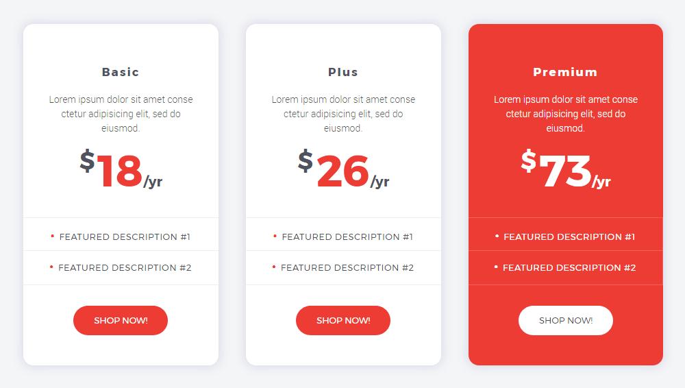 Pricing Table widget