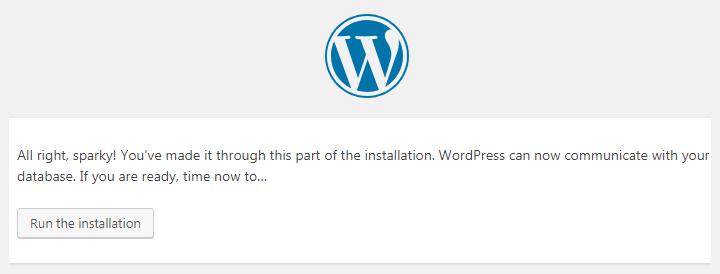 click the Run the installation button