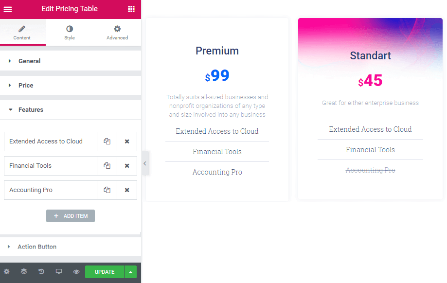 Features settings in Pricing Table widget