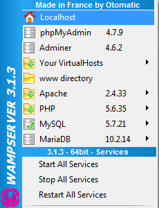 WampServer menu at the bottom-left corner of your screen