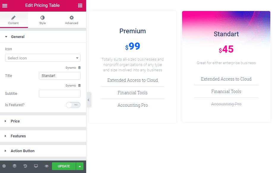 General settings in Pricing Table widget