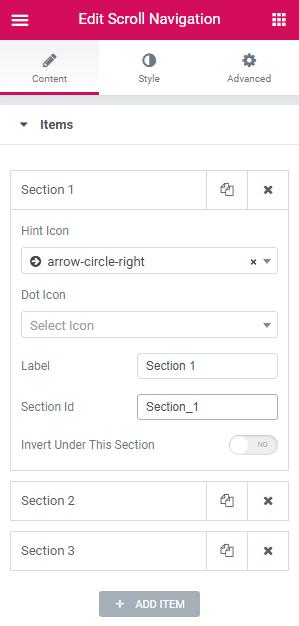 Items settings in Scroll Navigation widget