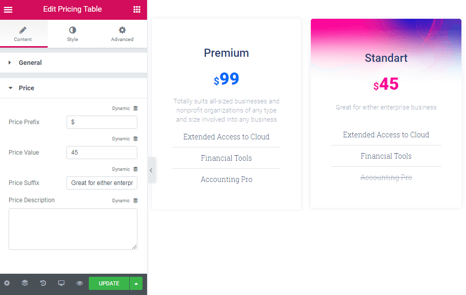 Price settings in Pricing Table widget