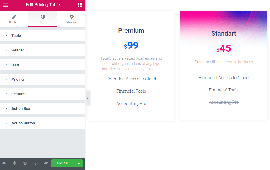 Style settings in Pricing Table widget