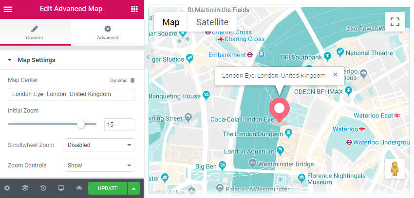 Advanced Map widget content