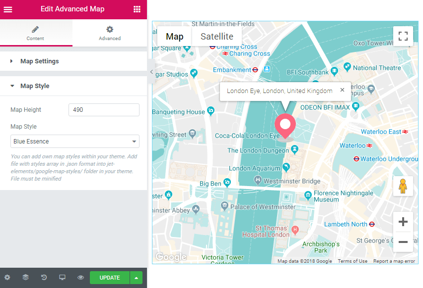 Advanced Map widget style