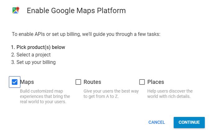 Enabling Maps on Google Maps Platform