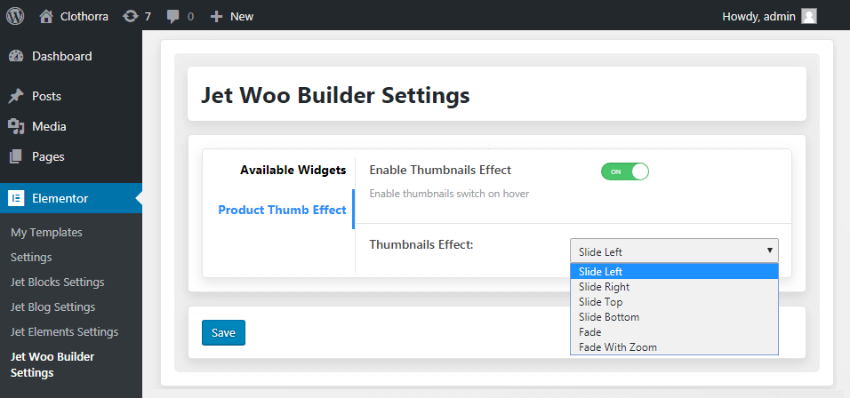 jertwoobuilder settings in elementor