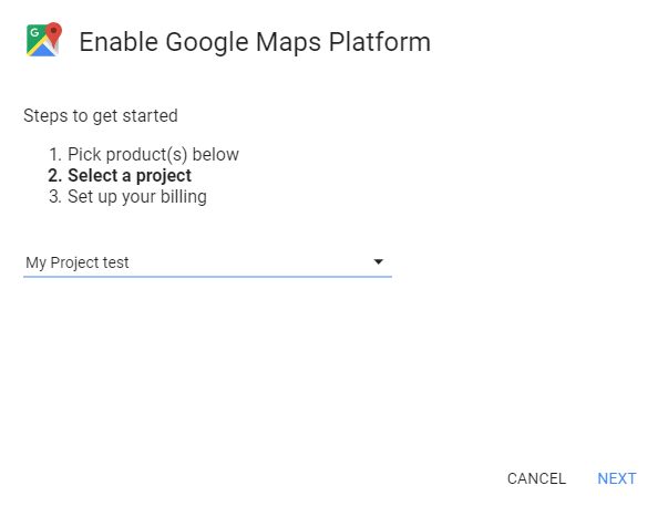 Project in Google Maps Platform
