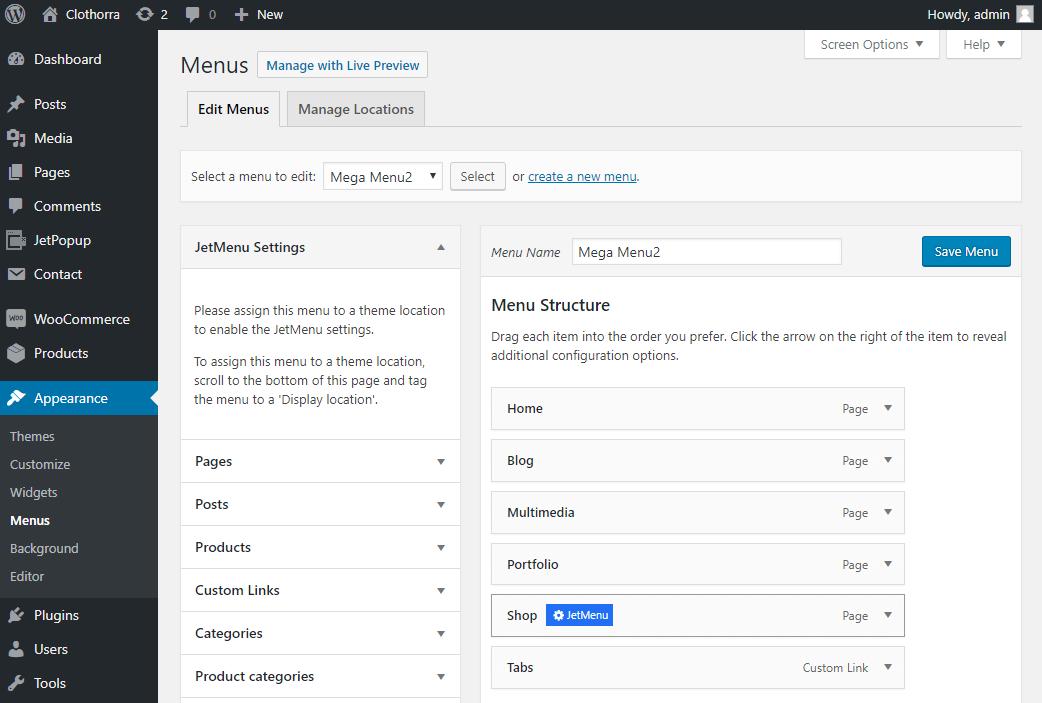 Menus tab in your WordPress Dashboard