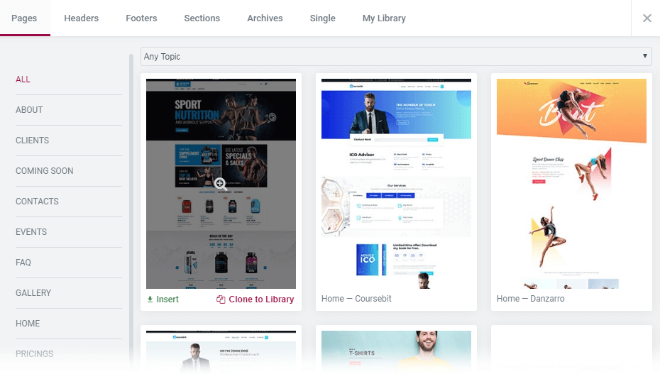 ready-made all pages templates in Magic Button