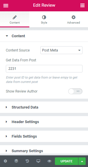 Content settings of Review widget