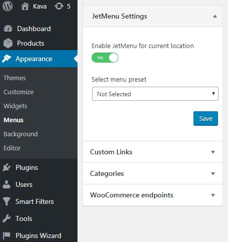 JetMenu Settings block