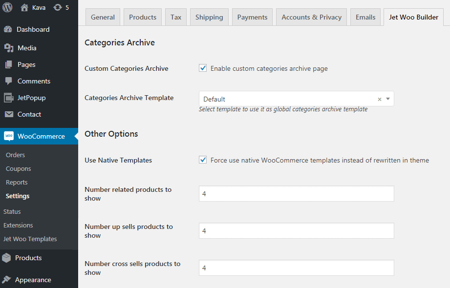 woocommerce jetwoobuilder settings