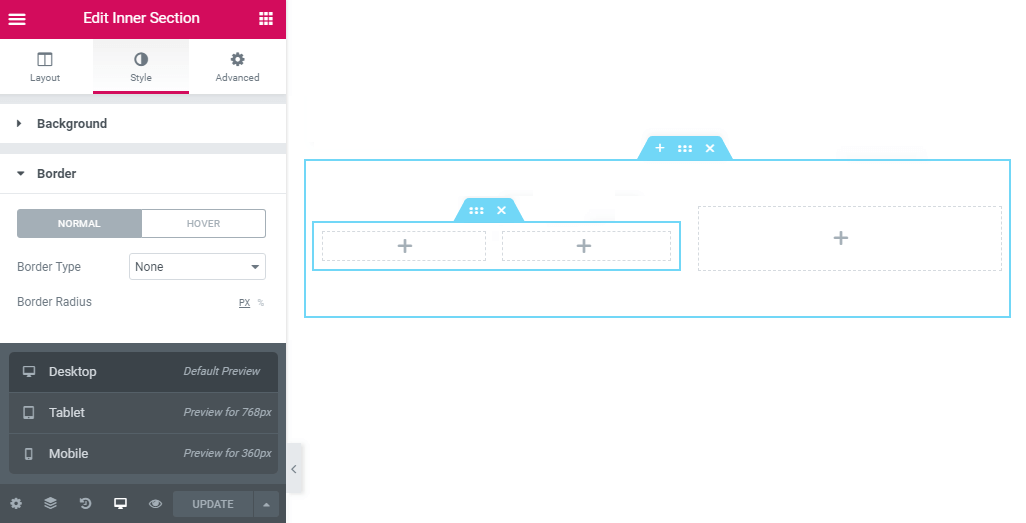 Style border settings in the inner section