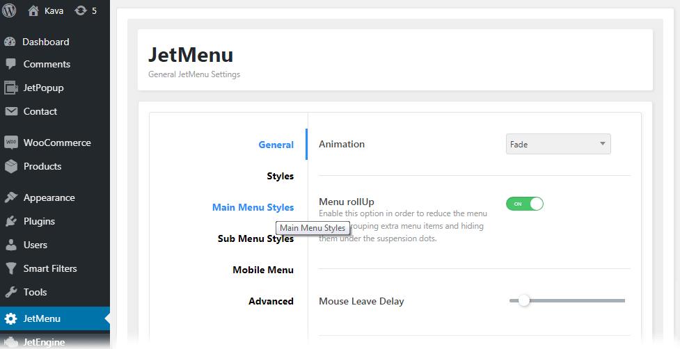 Main Menu Styles settings