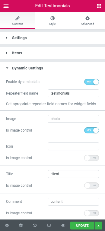 Dynamic Settings in Testimonial widget
