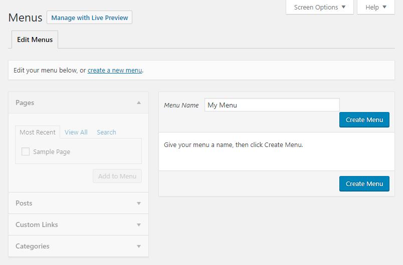 Edit Menus tab at WordPress Dashboard