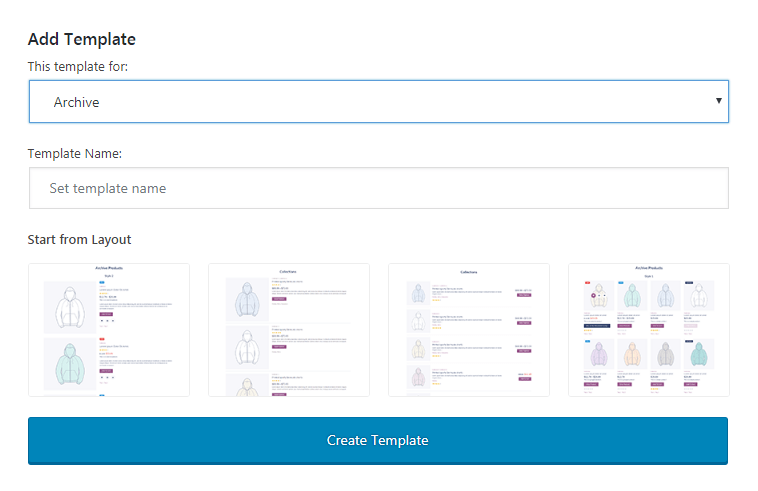 archive template creating