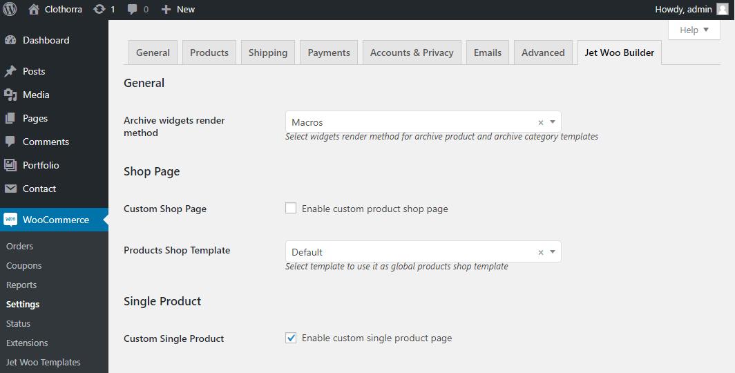 jetwoobuilder settings