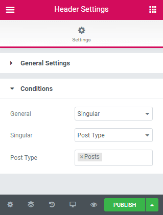 Conditions in the Header settings