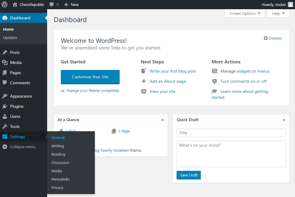 General settings at WordPress Dashboard