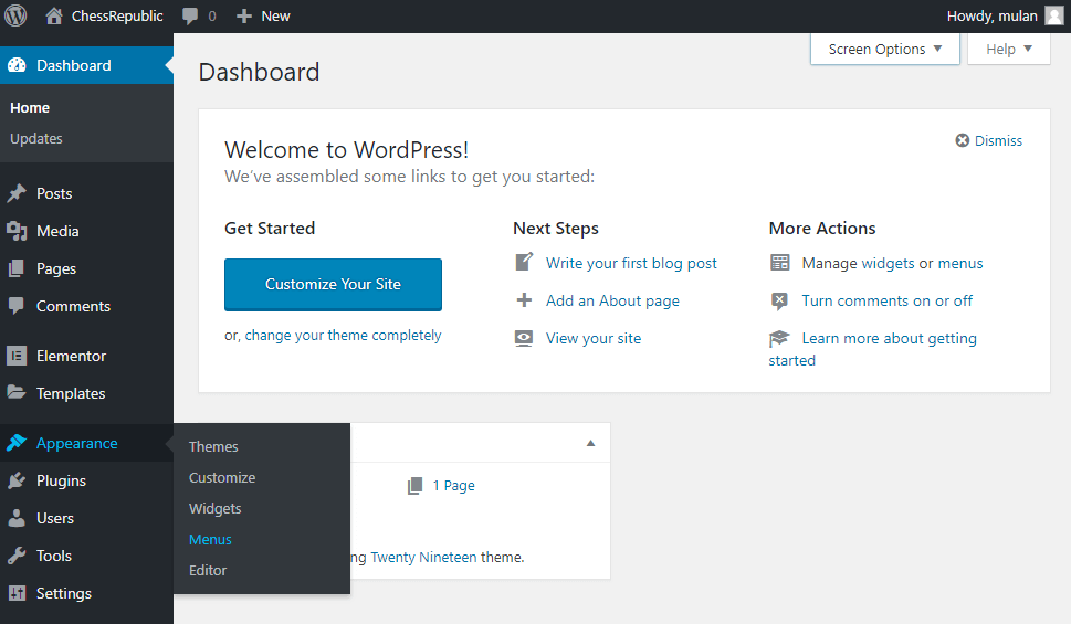 Appearance > Menus block in WordPress Dashboard