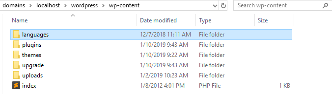 the languages ​​folder inside the wp-content directory