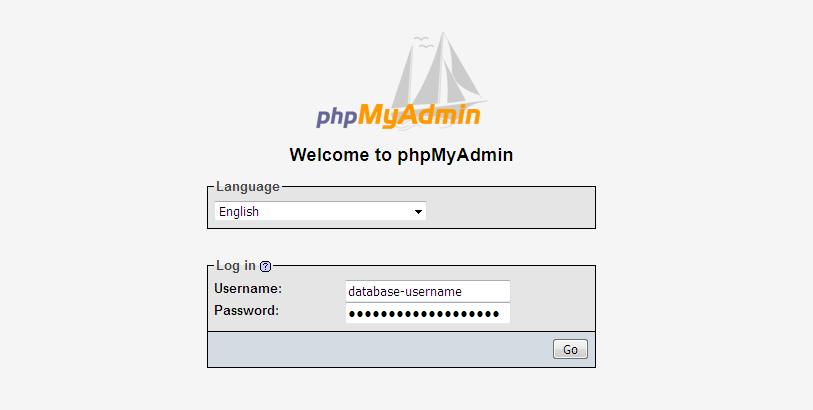 access PhpMyAdmin tool