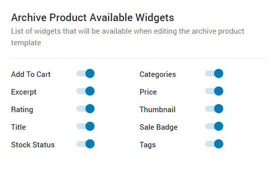 archive products widgets