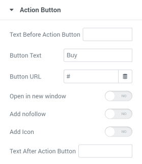 Pricing Table action button settings