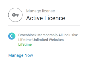 Crocoblock dashboard Active license