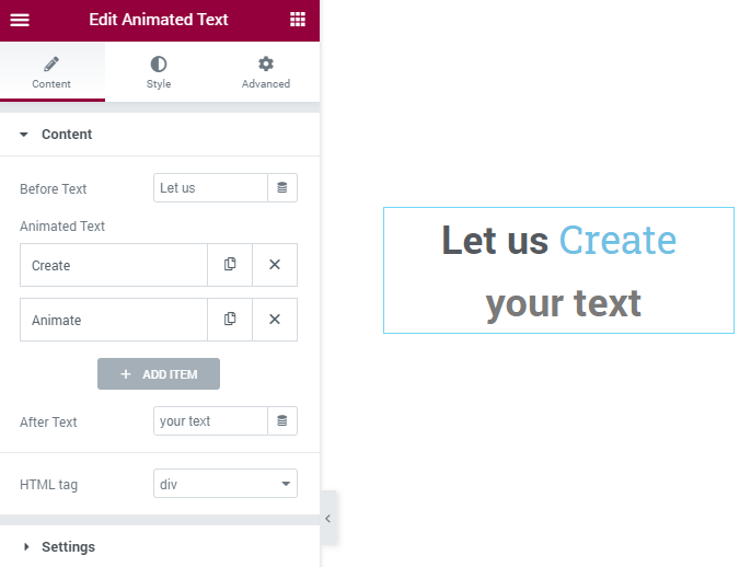 Animated Text Content settings section
