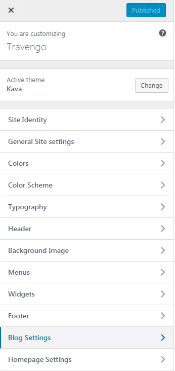 blog settings in the customizer