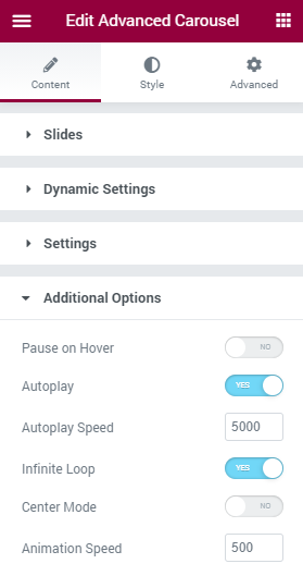 Advanced Carousel Additional Options section