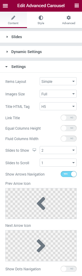 Advanced Carousel Settings section