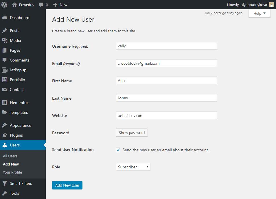 Add new user in WordPress Dashboard