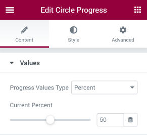 Circle Progress Value section